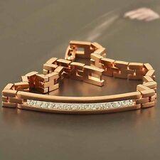 Mens Unisex Shiny 14K Rose Gold Filled CZ Bracelet Super Sexy Steel bracelet