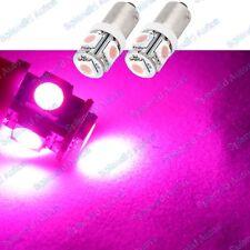 (2) Pink 5-SMD High Power Error Free H6W 64132 BA9s LED Bulbs