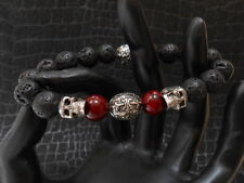 Black Lava Bracelet with King Chrome Skulls and Maltese Cross Baby.