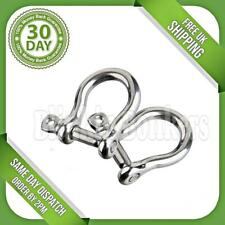 2 BOW SHAPE SHACKLE LARGE STRONG 6MM M6 STEEL BOAT ROPE SCREW PIN HOOK UK SELLER