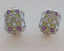9CT WHITE GOLD PERIDOT, AMETHYST, BLUE TOPAZ AND DIAMOND EARRINGS WITH POST CLIP