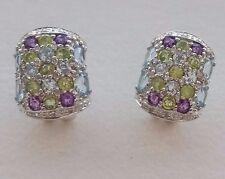9ct White Gold Blue Topaz and Diamond Earrings