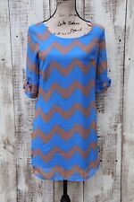 AS U WISH Women Size SMALL Blue Beige Brown Tunic Dress