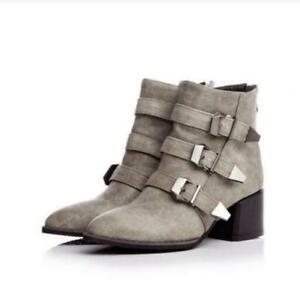 Women Med Block Heels Pointed Toe Belt Spring Roman Vintage Punk Boots Black