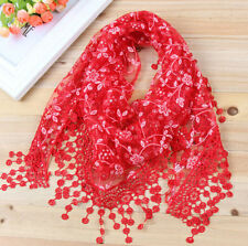 Hot Women Rose Floral Knit Lace Tassel Mantilla Triangle Hollow Scarf Shawl Wrap