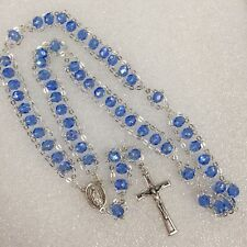 unique double chain Guadalupe Divine Mercy Rosary parts- Italy BLUE CRYSTALS 20""