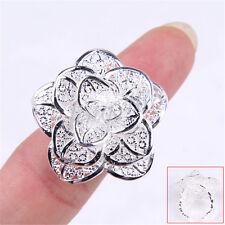 Ladies18K White Gold Filled 30mm Large Filigree Blossoming Rose Flower Ring H053