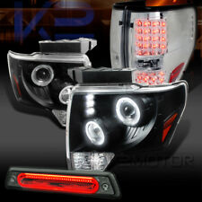 09-14 F150 Black Halo Projector Headlights+Clear Tail Lamps+Smoke LED 3rd Brake