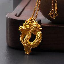 Pure 999 24k Yellow Gold Pendant / 3D Craved Lucky Fashion Dragon Pendant / 4g