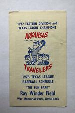 MiLB 1978 ARKANSAS TRAVELERS Minor League Baseball Schedule Cardinals Affiliate