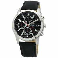 Orient FKU00004B0 SP Chronograph 42MM Men's Chronograph Black Leather Watch