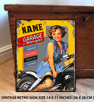 PERSONALISED  GARAGE  SHED  SAUCY GIRL  GIFT  Retro Vintage  Metal Wall Sign