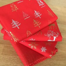 FESTIVE METALLIC Fat Quarter Bundle SILVER/GOLD RED Fabric Christmas Stag Tree