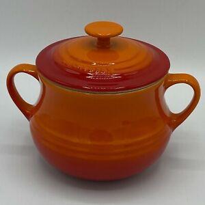 Le Creuset Volcanic Orange Stoneware Bean Pot Soup Bowl With Lid
