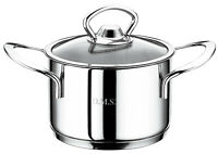 O.M.S. Mini Casserole Pan Dish With Glass Lid 18/10 Stainless Steel Induction