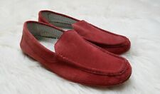 hope & glory mens red suede leather moccasins driver shoes loafers slip on 9 43