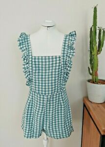 MISS SHOP Cute Green Frill Sleeve Gingham Playsuit, Size 10, BRAND NEW FREE POST