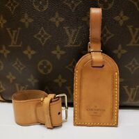 Authentic LOUIS VUITTON Large Leather Luggage ID Tag Name Tag and Poignet [#107]