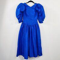 Vintage 80s Prom Formal Dress Blue Puffy Sleeve Taffeta Bridesmaid Size 6