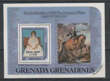 Grenada Grenadines 1982 Diana 21st O/P Bebé Real $5 hoja estampillada sin montar o nunca montada En Miniatura