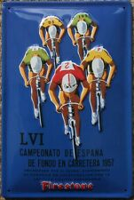 Vintage Cycle Racing 1957 CYCLISME POSTER metal sign-NOUVEAU FIRESTONE
