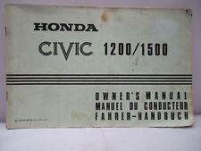 Honda Civic 1200/1500 Owner's Manual 1979 - Illustrated