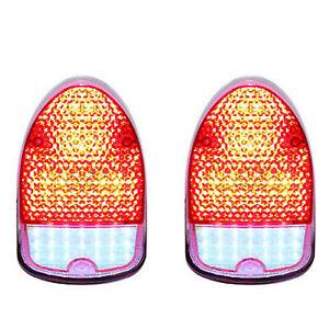 68 69 70 VW Volkswagen Beetle Bug LED Clear Red Tail Brake Light Lamp Lens PAIR