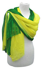 Large Boho 2 Tone Yellow Green Chiffon Vintage Indian Sari Scarf Wrap Sarong