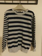Boys H&M jumper Navy Blue and Grey stripes ages 4-6 Years #Z