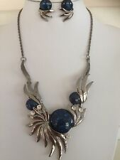 Free Shipping Fashion Jewellery Chunky  Necklace Dark Blue Earring Set