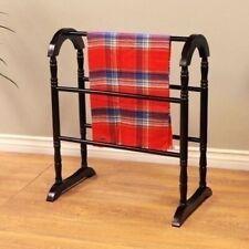Espresso Finish Wooden Quilt Rack Blanket Stand Storage Display Bedding Vintage