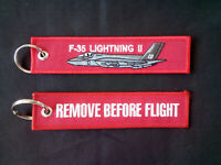 Cloth Keyring with F-35 Lightning on one side, Remove Before Flight on the other