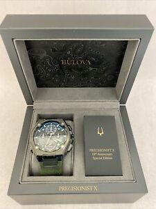 Bulova Men's Precisionist X Special Edition Chrono Green Leather Watch 98B355w88