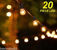 20 Metre LED Vintage Edison Clear Festoon/Party Light Kit Wedding Energy Saving