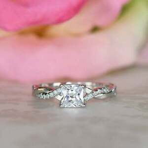 Fast Shipping for Infinity Twisted Engagement Ring 1 CT Princess Cut Diamond 14K