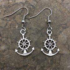 Cute New Tibetan Silver Ship Anchor & Wheel Charm Dangle Drop Earrings