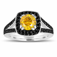 Fancy Enhanced Yellow Diamond Engagement Ring 14K White Gold 1.56 Ct Halo Pave