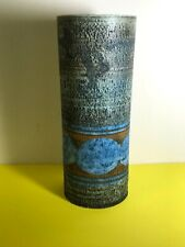 More details for fine early troika cylinder vase - decorated & signed by sylvia vallence, c.1968