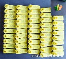 100sets Yellow Sheep Goat Ear Tag Lable Identification With Number Eartag New