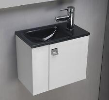 Mobile bagno sospeso da 43 cm con lavabo lavamano in vetro float color antracite