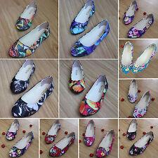 Women Floral Ballerina Ballet Dolly Pumps Comfort Loafer Flats Deck Single Shoes