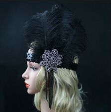 Black Ostrich Feather Headpiece Headband Flapper 1920s Great Gatsby Vintage Hot