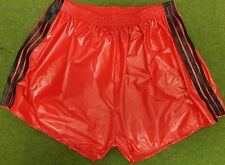 Retro PU Nylon Football Shorts S to 4XL, Red - Black