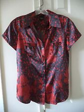 BCBG MaxAzria Red & Charcoal Grey Modern Floral Silky Satin Blouse Top 4 6 S
