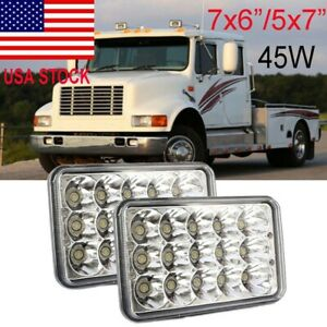 2PCS 7x6 INCH Rectangular LED Headlight Bulb Sealed Beam For Freightliner FL70
