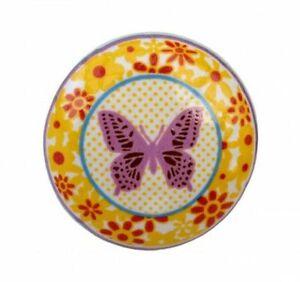Möbelknopf Schmetterling Blumen Knauf bunt