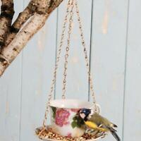 1 X Esschert Modèle Céramique Jardin Oiseau Floral Fleurs Tasse à Thé Mangeoire