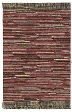 "Dollhouse mini handcrafted self fringed stripe rug burgundy & gold 5 3/4"" x 9"""