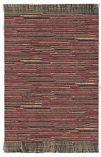 "Dollhouse mini handcrafted self fringed stripe rug burgundy & gold  5 3/4"" x 9"""