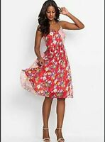 Red Boho hippy summer sexy pretty party printed pleated sun dress UK 10  EU 38